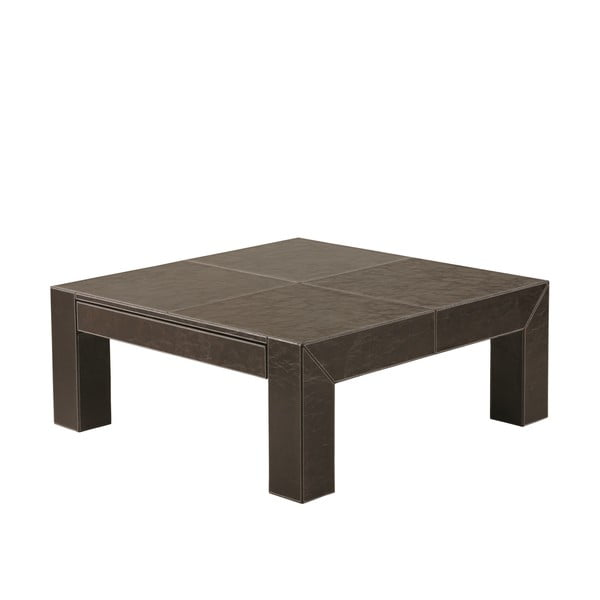 Kávový stolek Bakero z umělé kůže, 100x100 cm