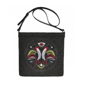 Plstěná vyšívaná taška New Folk Black s odepínacím popruhem
