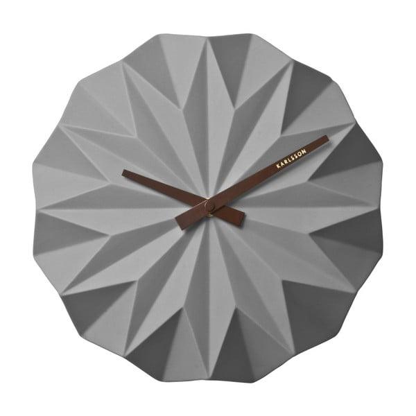 Origami szürke falióra - Karlsson