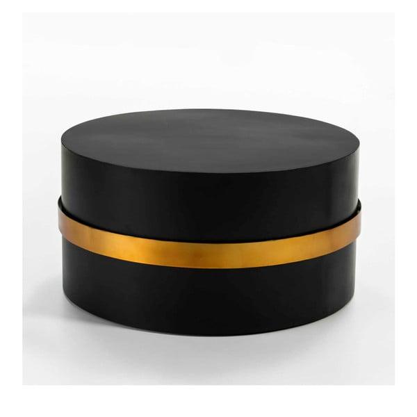 Černý odkládací stolek s detailem ve zlaté barvě Thai Natura, ⌀79cm