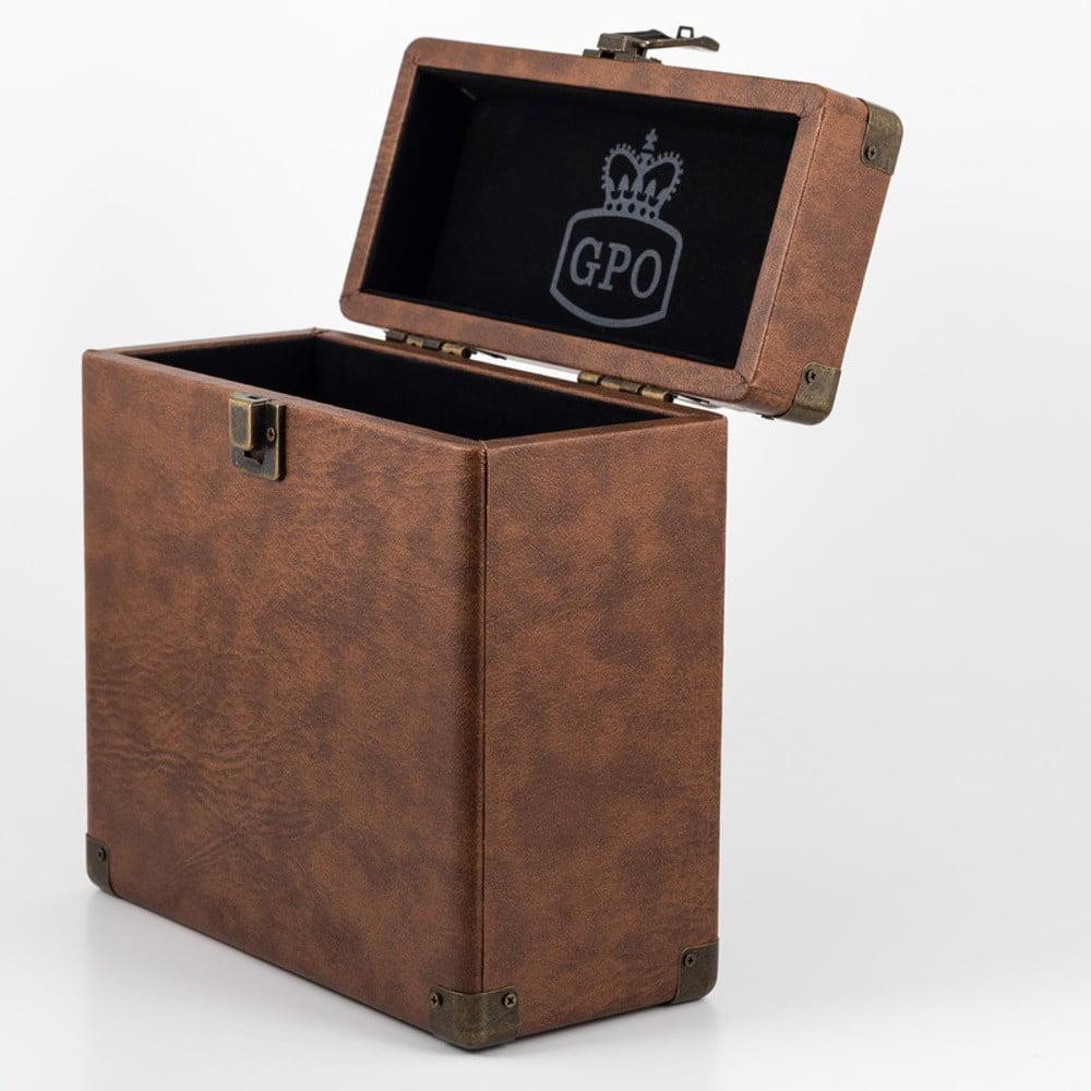 Hnědý kufřík na vinylové desky GPO Vinyl Case