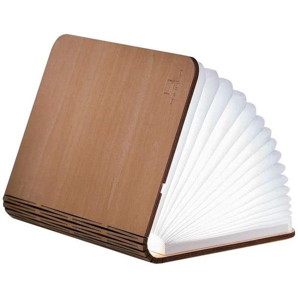 Veioză de birou din lemn de arțar, cu LED, în formă de carte Gingko Booklight Mini, maro deschis
