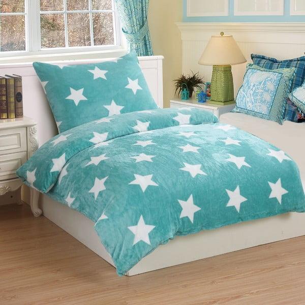 Mätovozelené mikroplyšové obliečky na jednolôžko My House Stars, 140 × 200 cm