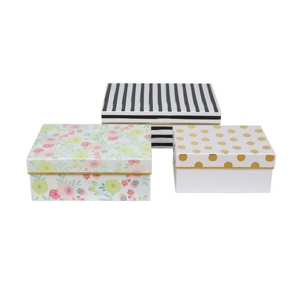 Sada 3 úložných krabic Lovely Blooms