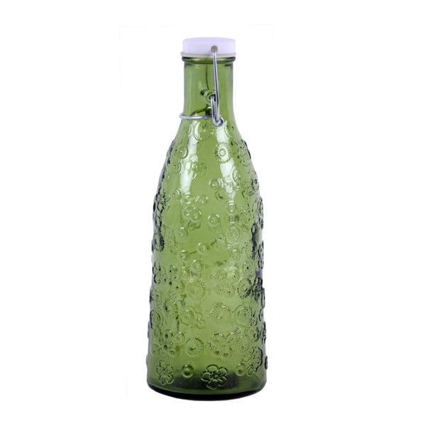 Zelená skleněná láhev EgoDekorFlora, 950 ml