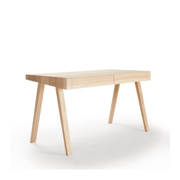 4.9 litván kőrisfa íróasztal, 2 fiókos - EMKO