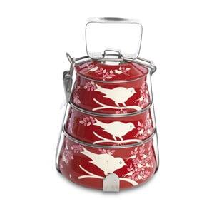 Jídelní misky Eva Hand Painted Tiffin, červená