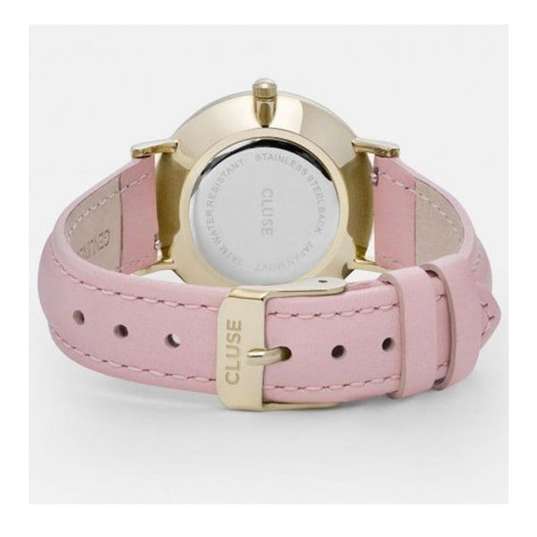 Dámské hodinky s růžovým koženým řemínkem s detaily ve zlaté barvě Cluse Minuit