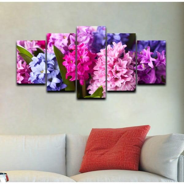 5dílný obraz Růžová a fialová
