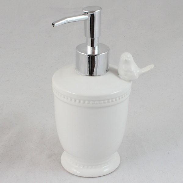 Biały ceramiczny dozownik do mydła Dakls Little Bird