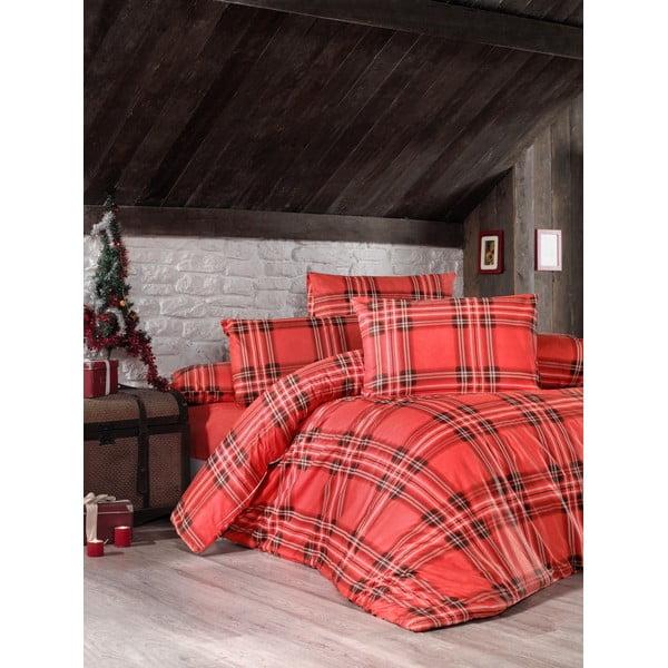 Červené povlečení s prostěradlem na dvoulůžko z ranforce bavlny Victoria Linda, 200 x 220 cm