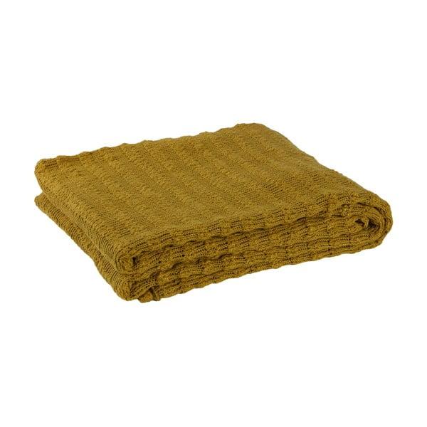 Hořčicově žlutý bavlněný pléd BePureHome, 130x70cm