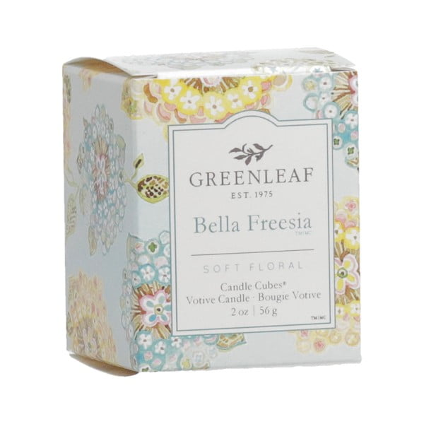 Svíčka s vůní frézie Greenleaf Bella Freesia, doba hoření 15 hodin