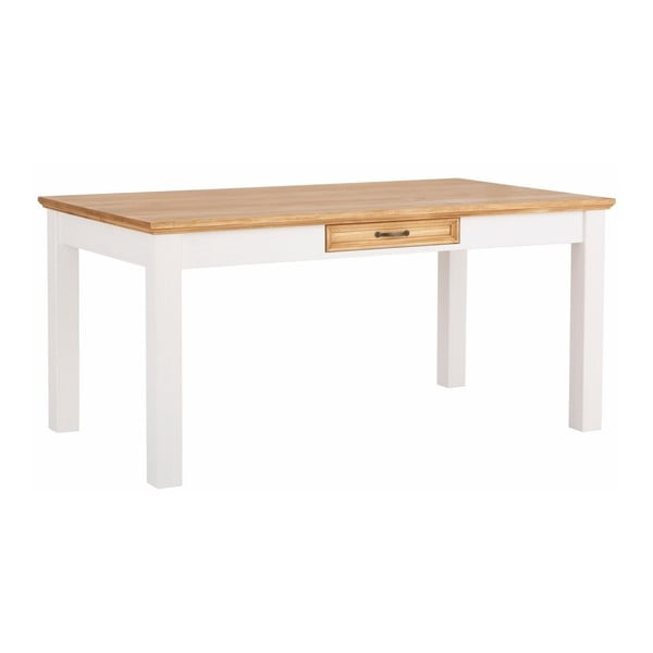 Suzie fehér tömör borovi fenyő étkezőasztal, fiókkal - Støraa