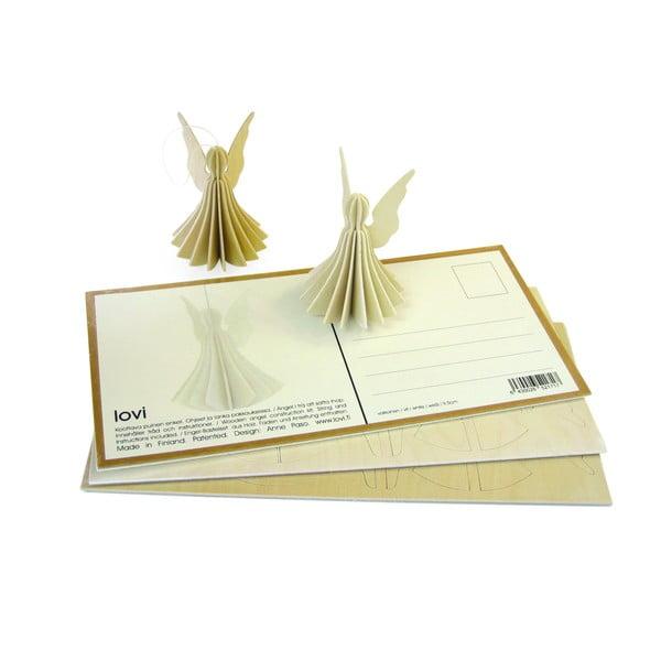 Skládací pohlednice Lovi Angel White, 9 cm