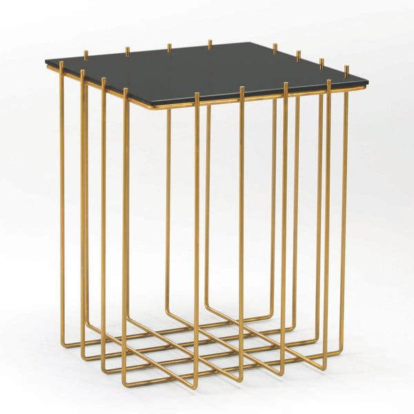 Odkládací stolek s mramorovou deskou a kovovými nohami Thai Natura, Ø 48 x 56 cm