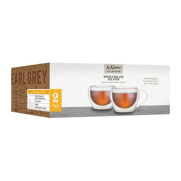 Dva skleněné hrnky na čaj Kitchen Craft Le'Xpress, 230 ml