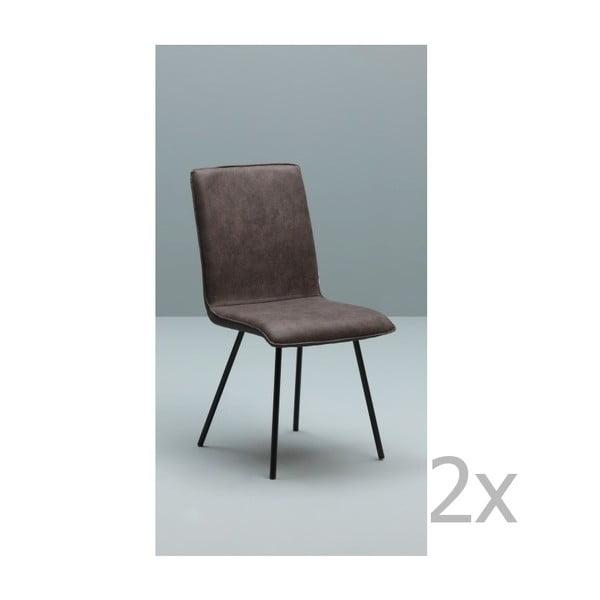 Sada 2 tmavě hnědých židlí Design Twist Moen