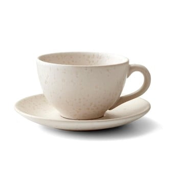 Ceașcă cu farfurioară din gresie ceramică Bitz Matte Cream, 240 ml, crem
