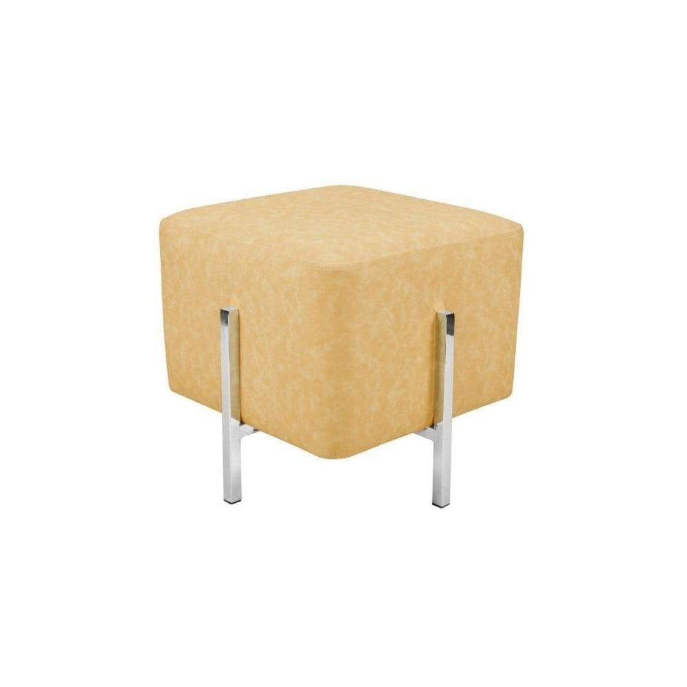 Žlutá stolička s nohami ve stříbrné barvě Vivorum Liani