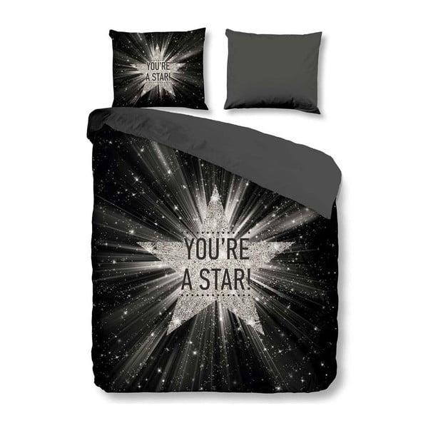 Černé povlečení na dvoulůžko z mikroperkálu Muller Textiels Stars, 200 x 200 cm