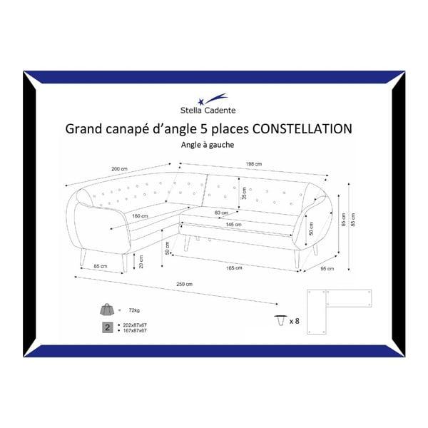 Námořnicky modrá pohovka Constellation Grand s lenoškou na levé straně