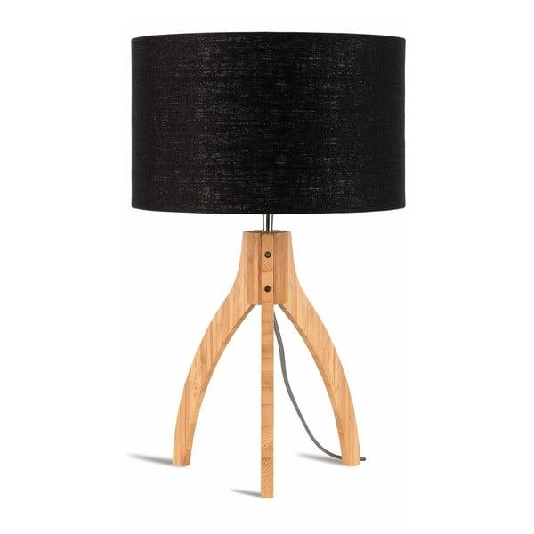 Stolní lampa s černým stínidlem a konstrukcí z bambusu Good&Mojo Annapurna