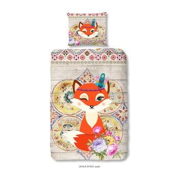 Lenjerie de pat din bumbac pentru copii Good Morning Foxy, 140 x 200 cm de la Good Morning