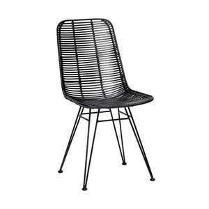Černá ratanová židle Hübsch Bergitte