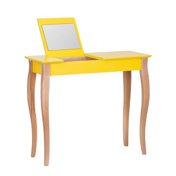 Dressing Table sárga fésülködőasztal tükörrel, hosszúság 85 cm - Ragaba
