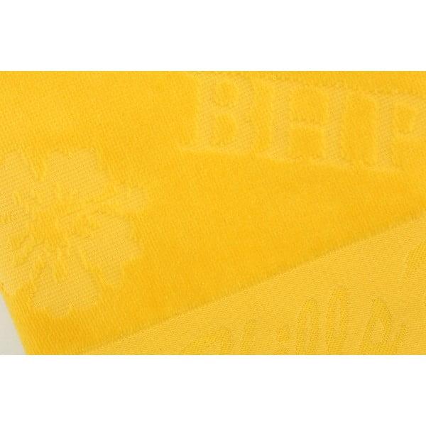 Žlutý bavlněný ručník BHPC Velvet, 50x100 cm