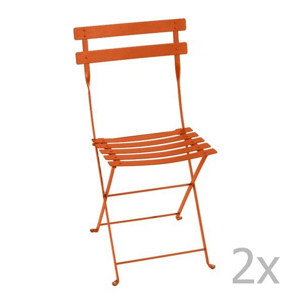 Sada 2 oranžových skládacích židlí Fermob Bistro