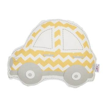 Pernă din amestec de bumbac pentru copii Apolena Pillow Toy Car, 32 x 25 cm, galben – gri de la Apolena