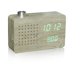Ceas deschis la culoare cu LED verde și radio Gingko Click Clock