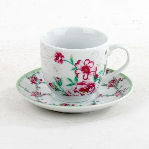 Porcelánová sada hrníčků na čaj Roses, 6 ks, green/pink