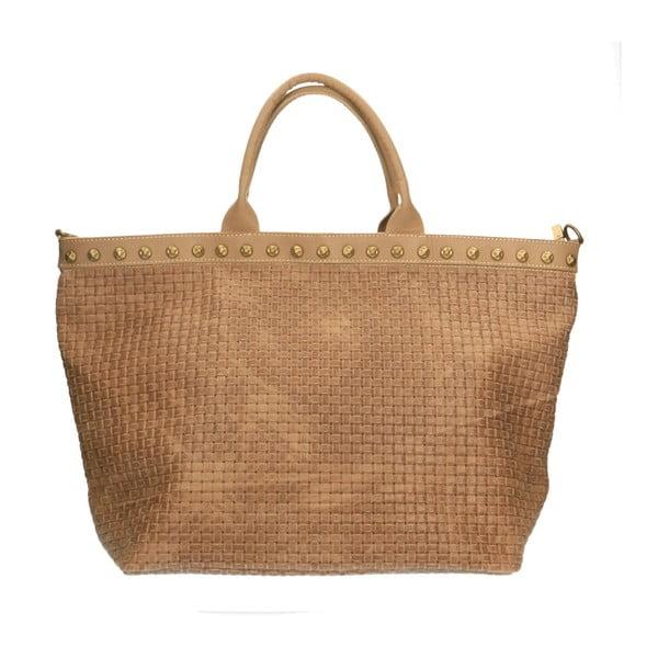 Hnědobéžová kožená kabelka Chicca Borse Murittio