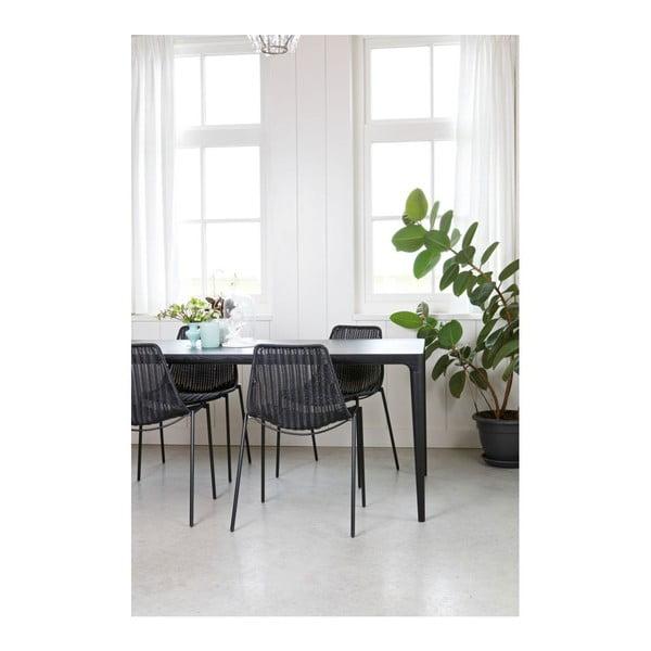 Dřevěný jídelní stůl Troy Ash Black,90x180 cm