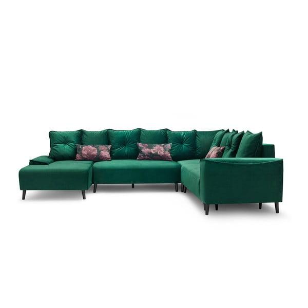 Hera zöld kinyitható kanapé fekvőfotellel, bal oldali kivitel - Bobochic Paris