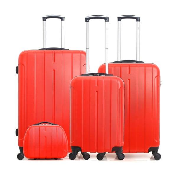 Sada 4 červených cestovných kufrov na kolieskach Hero Fogo-C
