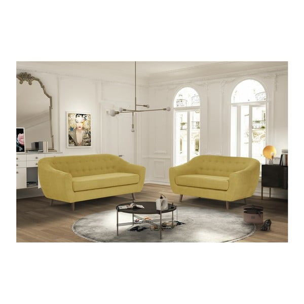 Canapea pentru 2 persoane Jalouse Maison Vicky, galben