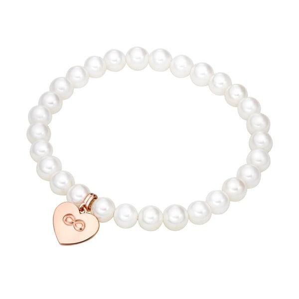 Biely perlový náramok s príveskom Nova Pearls Copenhagen Heart f3b35b5f399