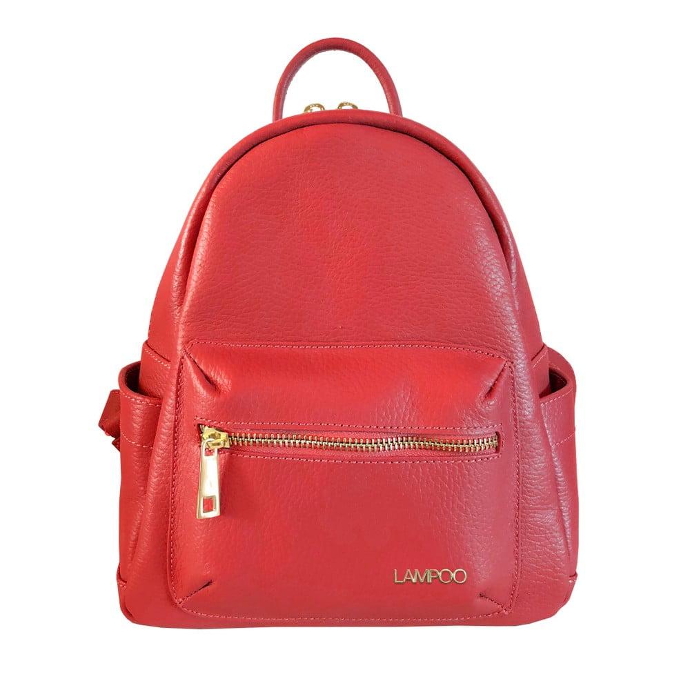 Červený kožený batoh Lampoo Lunda
