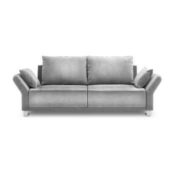 Canapea extensibilă cu înveliș de catifea cu 3 locuri Windsor & Co Sofas Pyxis, gri deschis de la Windsor & Co Sofas