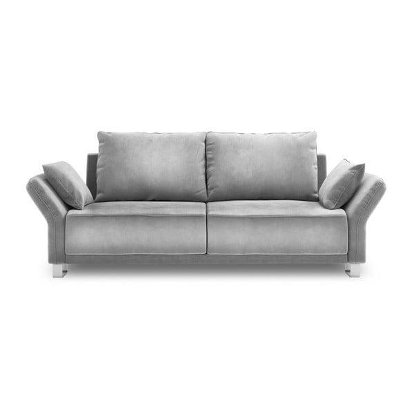 Jasnoszara 3-osobowa sofa rozkładana z aksamitnym obiciem Windsor & Co Sofas Pyxis