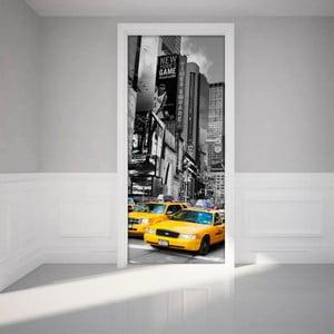 Autocolant adeziv pentru ușă Ambiance Time Square Taxis