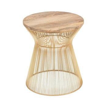Masă auxiliară cu blat din lemn WOOX LIVING Chloe, ⌀ 40 cm, auriu imagine