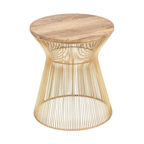 Odkládací stolek ve zlaté barvě s dřevěnou deskou WOOX LIVING Chloe, ⌀40cm