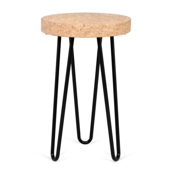 Czarny stolik z korkowym blatem TemaHome Drum
