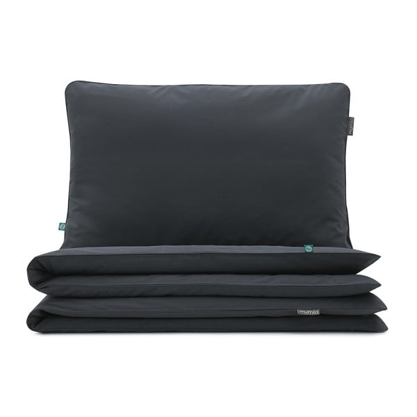 Fekete gyerek pamut ágyneműhuzat garnitúra, egyszemélyes ágyhoz, 90x120cm - Mumla