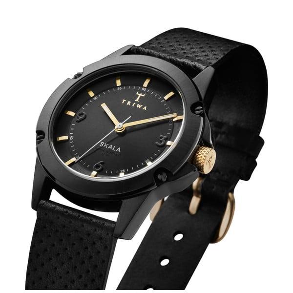 Dámské hodinky s černým koženým řemínkem Triwa Midnight Skala